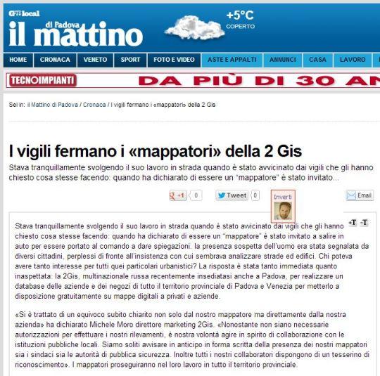 PD - INTERNET - Articolo Mappatore sospetto fermato dai vigili urbani - Articolo sul Mattino di Padova online - 2GIS - Michele Moro - Marketing Manager - 1.12.2012