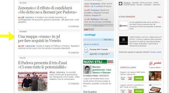 INTERNET - Notizia ANSA su Corriere del Veneto Online - Comunicato Stampa - I Turisti Russi in Veneto e 2GIS - 10.1.2013